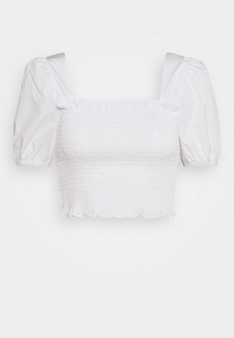 Glamorous - PUFF SLEEVE RUCHED CROP - Blus - white