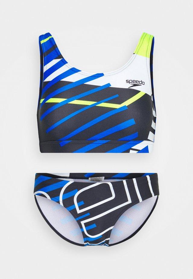 PLACEMENT U-BACK SET - Bikini - true navy/bondi blue/fluo yellow/white