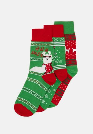 CHRISTMAS LAMA SOCKS 3 PACK - Socks - green/red