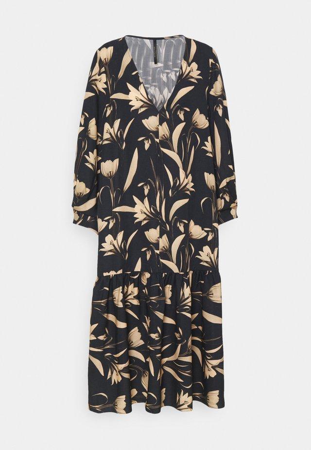 V-NECK DRESS WITH PLEATED SLEEVE GATHERED SKIRT - Freizeitkleid - botanical black