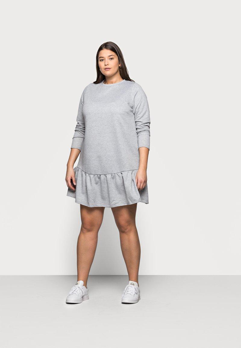 New Look Curves - DROP HEM DRESS - Denní šaty - grey niu