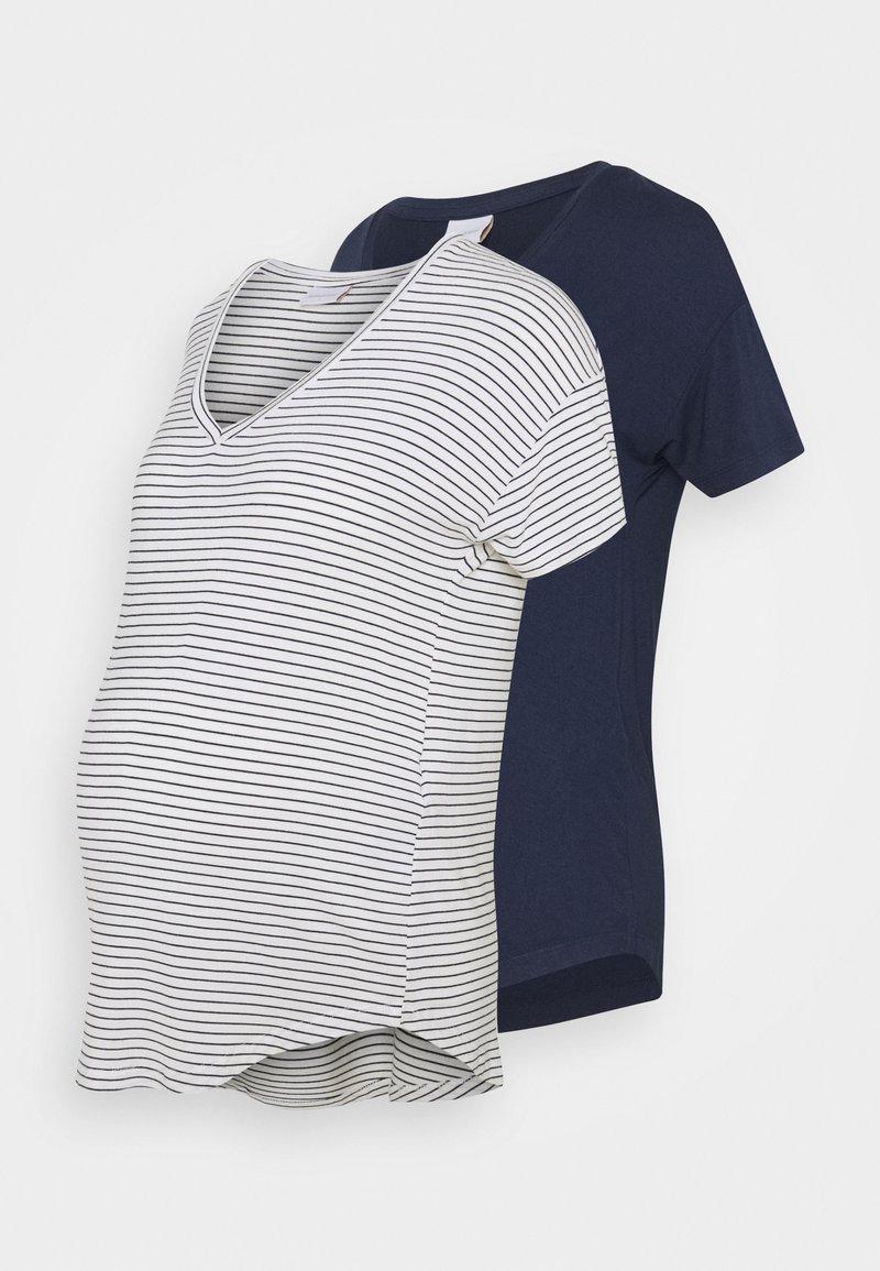 MAMALICIOUS - MLALISON MIX 2 PACK - T-shirt z nadrukiem - navy blazer/snow white