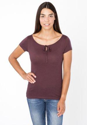 MERINO T-SHIRT W RELAX TEE - Print T-shirt - dunkelbraun