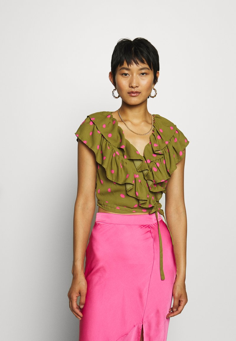 Who What Wear - RUFFLE WRAP - Blouse - army/pink