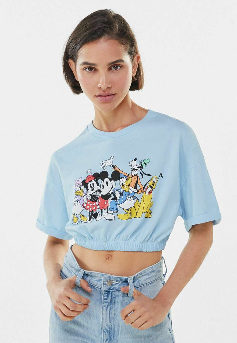 Bershka - Print T-shirt - blue