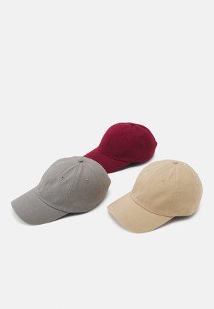 3 PACK - Cap - bordeaux/grey/beige