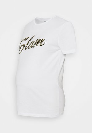 PCMKIROLA TEE - Print T-shirt - bright white/black/gold