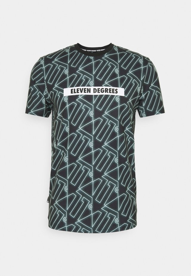 ALL OVER PRINT  - Print T-shirt - black/glacier green
