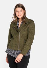 Sheego - Faux leather jacket - dunkelkhaki - 0