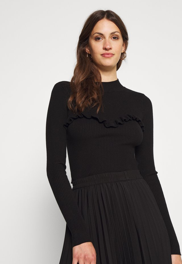 RUFFLE CROP JUMPER - Pullover - black