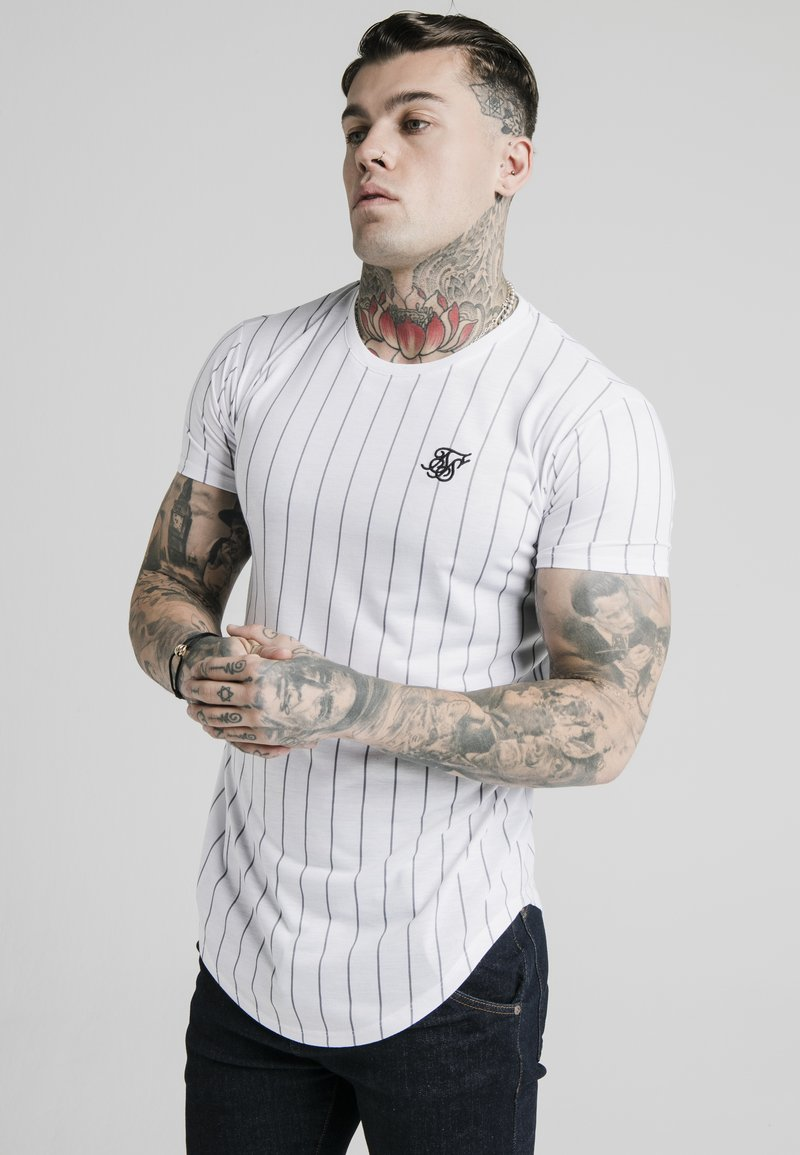 SIKSILK - PINSTRIPE TEE - T-shirt med print - white