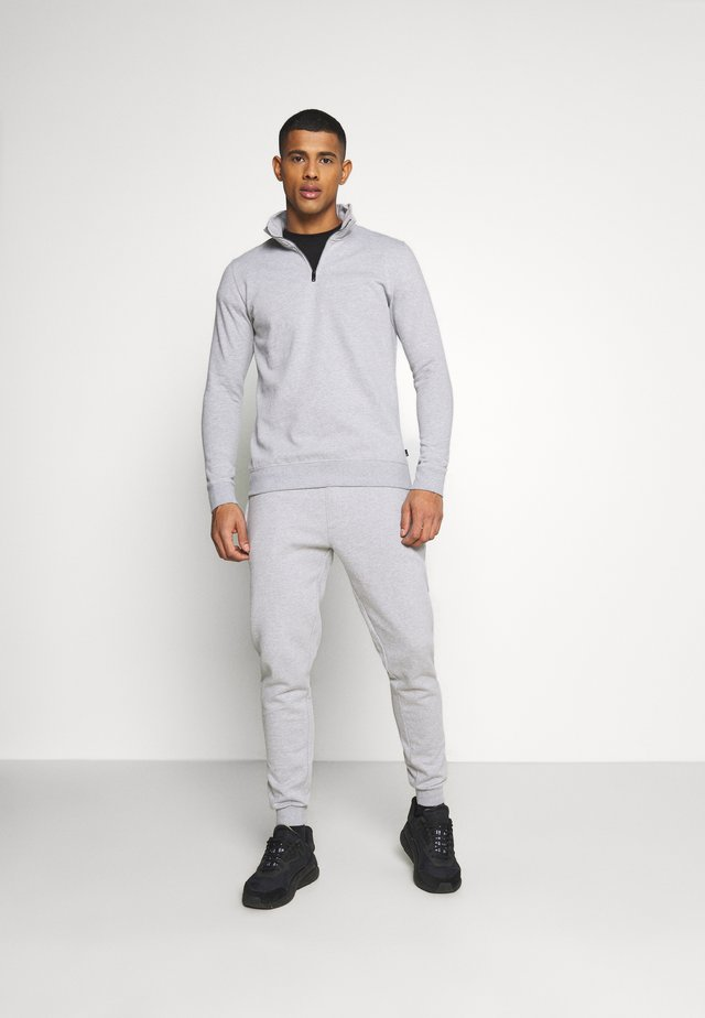 REGULAR FIT 1/2 ZIP SET - Mikina - grey melange