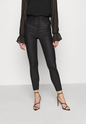 COATED HIGHWAIST - Trousers - black