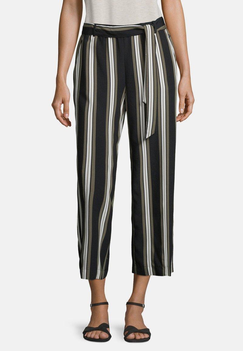 Betty & Co - MIT STREIFEN - Trousers - khaki/schwarz