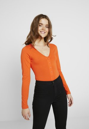 V NECK BUTTON FRONT - Long sleeved top - flame