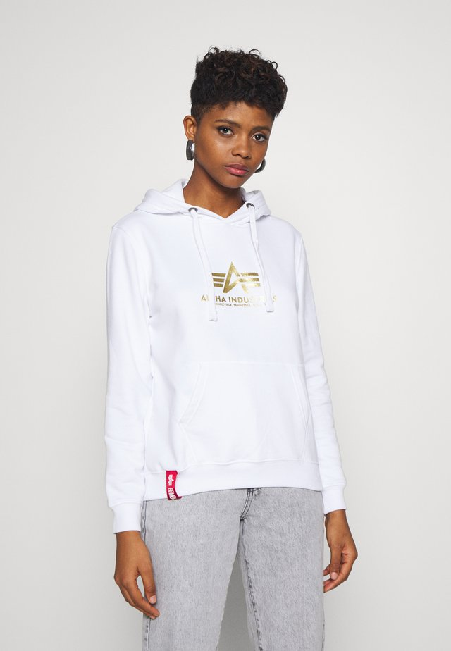 NEW BASIC HOODY FOIL PRINT - Bluza z kapturem - white/yellow gold