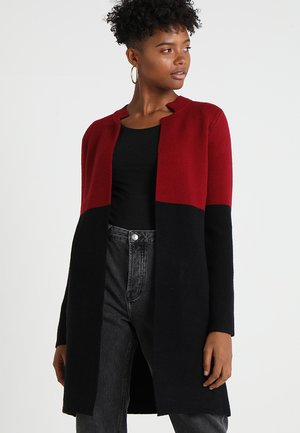 BLOCK - Strickjacke - burgundy/black