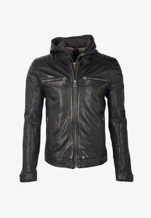 LAOV - Leather jacket - schwarz
