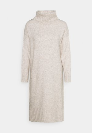 ROLL NECK DRESS - Pletené šaty - oatmeal