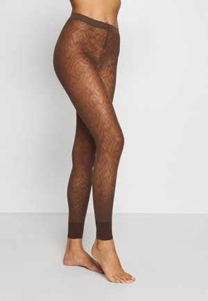FALKE ZEBRA 20 DENIER  LEGGINGS TRANSPARENT FEIN BRAUN - Leggings - chokolate