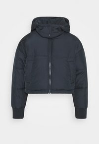 Topshop Petite - LUCY CROPPED HOODED PUFFER - Winter jacket - navy - 0