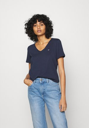 SLIM JERSEY V NECK - Basic T-shirt - blue