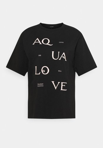 TEE WITH POSTER GRAPHIC - Print T-shirt - black