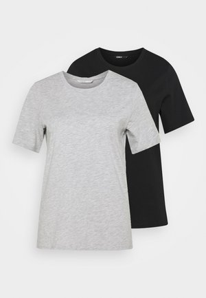 ONLONLY LIFE 2 PACK - Basic T-shirt - light grey melange/black