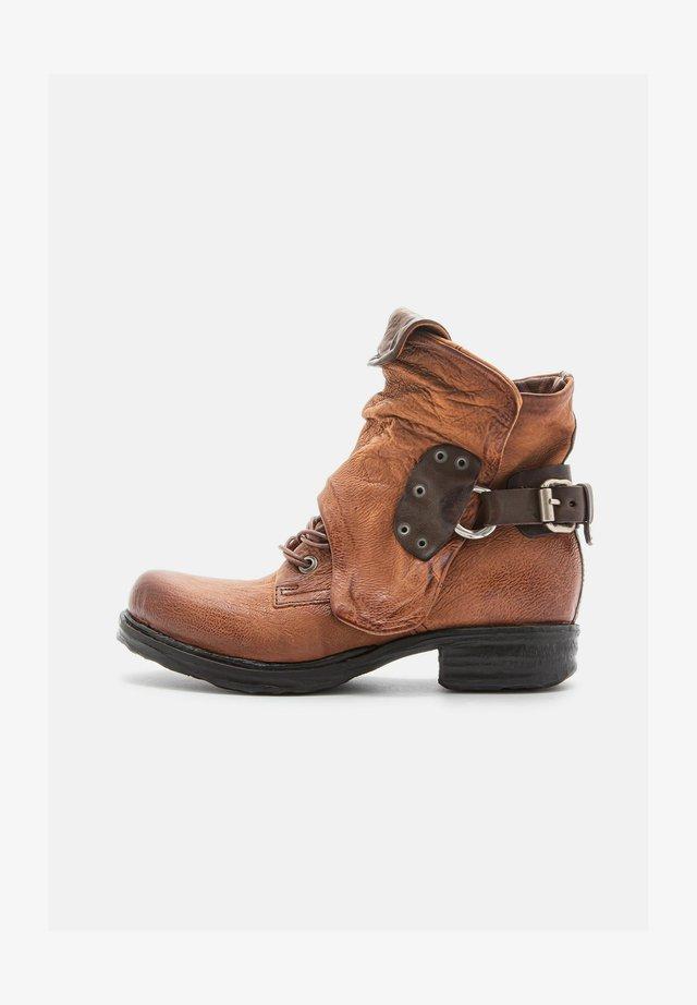 Cowboy/biker ankle boot - calvados/fondente