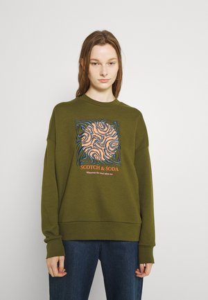 CREWNECK OVERSIZED FIT WITH GRAPHIC - Sweatshirt - military