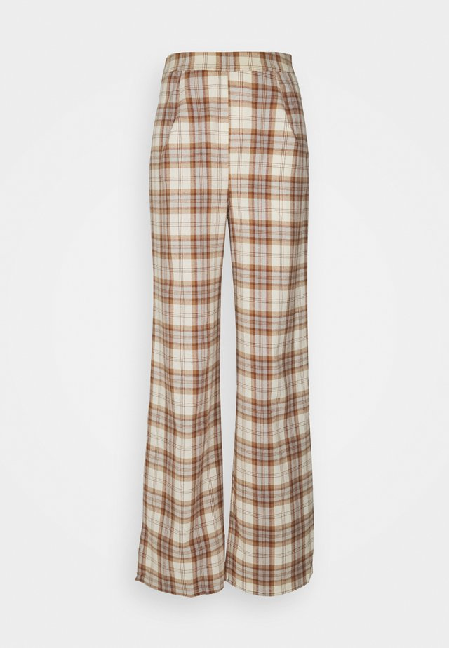 CHECK WIDE LEG TROUSER - Trousers - brown