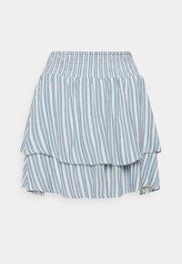 ONLY - ONLAURORA SMOCK LAYERED SKIRT - Minifalda - bright white/faded denim - 4