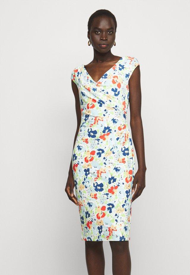 PRINTED MATTE DRESS - Etui-jurk - cream/blue/multi