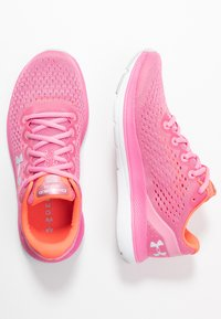 Under Armour - CHARGED IMPULSE - Zapatillas de running neutras - lipstick/white/halo gray - 1