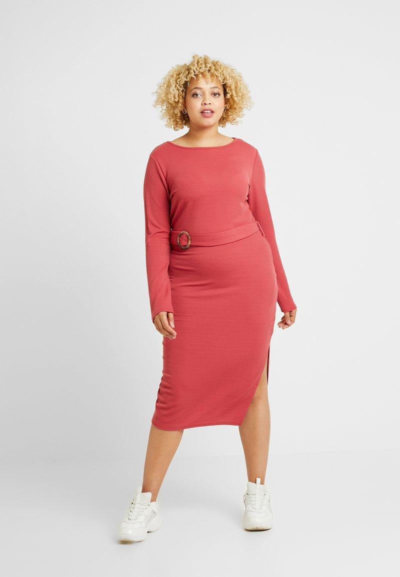 Glamorous Curve - BELTED LONG SLEEVE DRESS - Shift dress - dusty raspberry