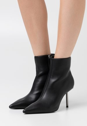 METAL STILETTO POINTY BOOTS - High heeled ankle boots - black