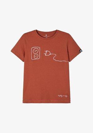 Print T-shirt - burnt brick
