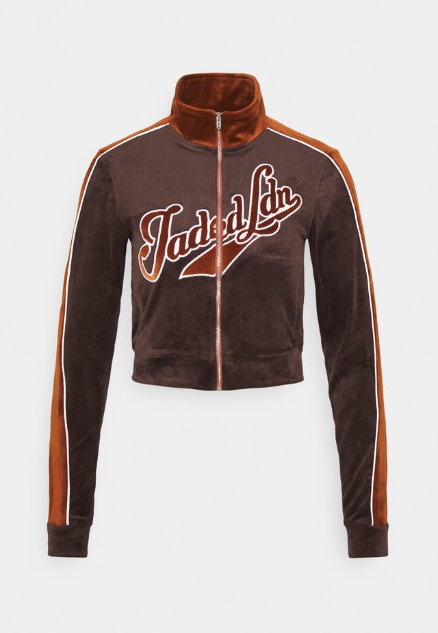 ZIP THROUGH NEW YORKER FONT - Hoodie met rits - brown