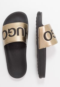 HUGO - MATCH SLID - Klapki - black/gold - 1