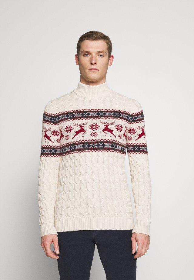 SLHOHMYDEER HIGH NECK - Stickad tröja - bone white