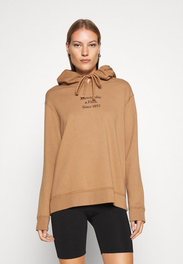 GEL LOGO SNAP POPOVER - Bluza z kapturem - brown