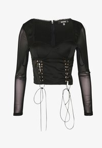 Missguided - LACE UP CORSET STYLE TOP - Langarmshirt - black - 3