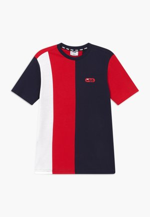 BILL BLOCKED TEE - T-shirt imprimé - black iris/true red/bright white