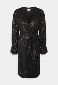 Milly - SIENA MINI SEQUINS WRAP DRESS - Robe de soirée - black - 0
