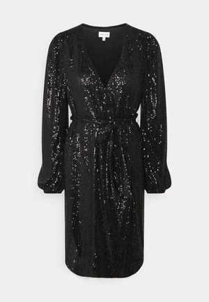 SIENA MINI SEQUINS WRAP DRESS - Cocktail dress / Party dress - black