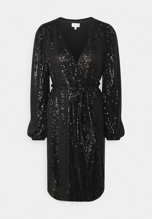 SIENA MINI SEQUINS WRAP DRESS - Sukienka koktajlowa - black