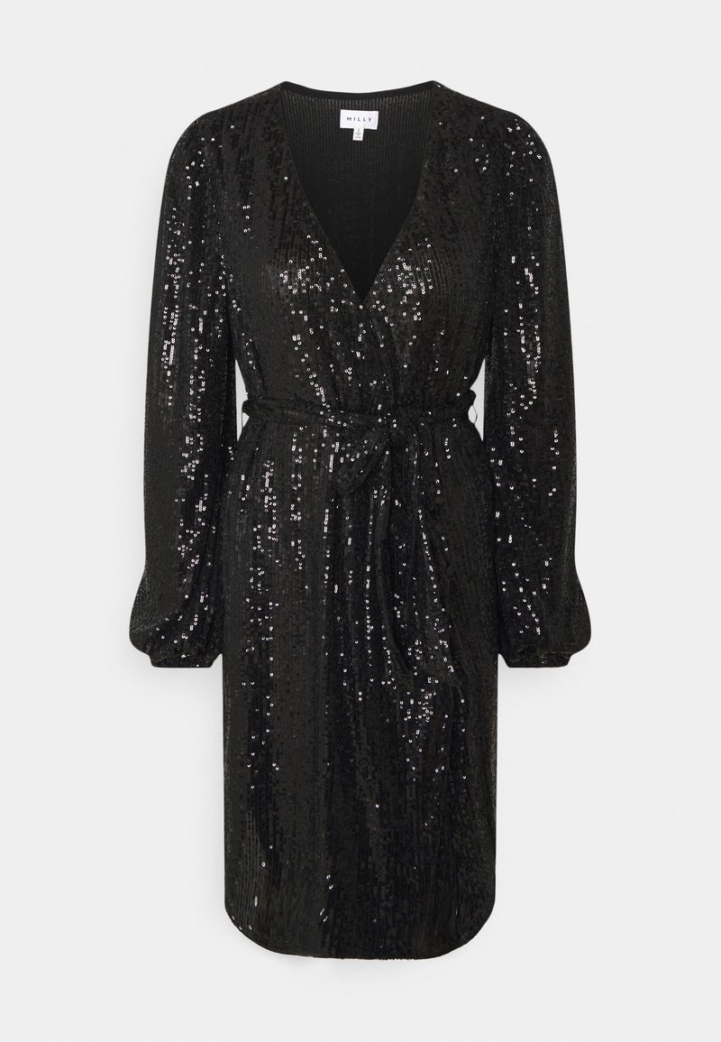 Milly - SIENA MINI SEQUINS WRAP DRESS - Robe de soirée - black