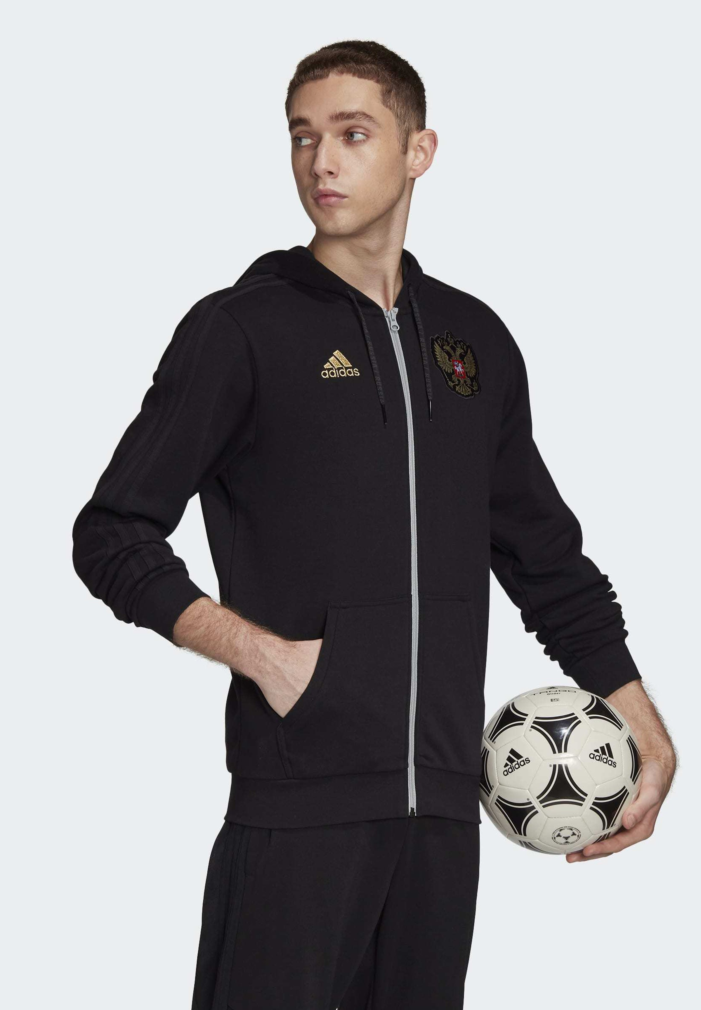 adidas Performance RUSSIA 3-STRIPES HOODIE - veste en sweat zippée - black
