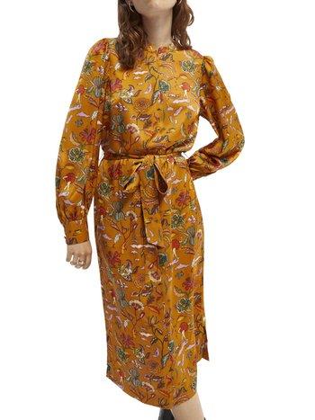 PRINTED MIDI LENGTH DRESS WITH WAIST TIE - Jurk - orange