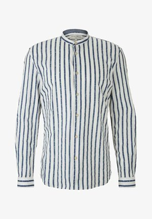 Shirt - white blue shredded stripe